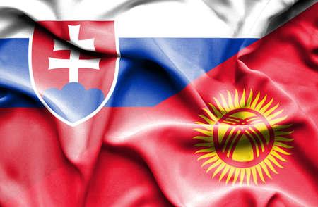 slovak: Waving flag of Kyrgyzstan and Slovak