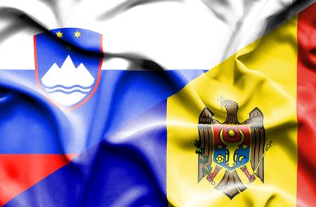 moldavia: Waving flag of Moldavia and Slovenia