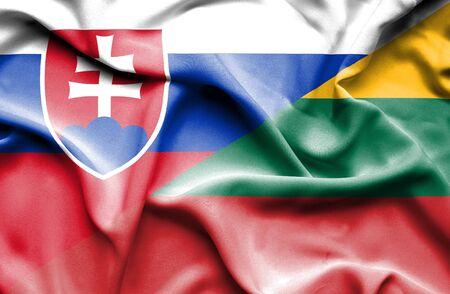 slovak: Waving flag of Lithuania and Slovak