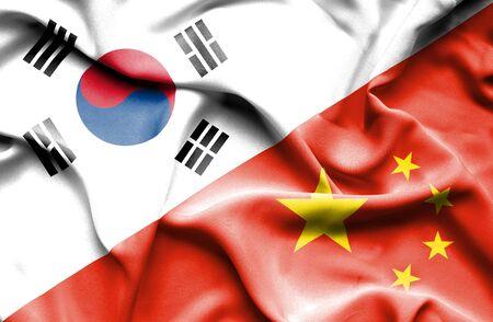 south korea: Waving flag of China and South Korea