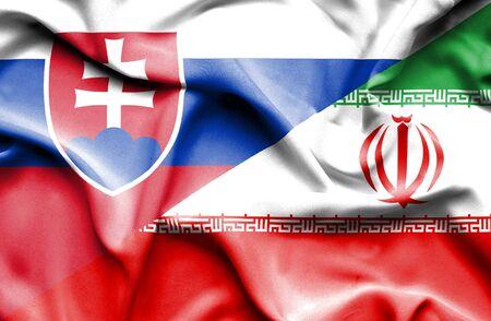 slovak: Waving flag of Iran and Slovak