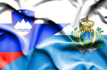 san marino: Waving flag of San Marino and Slovenia