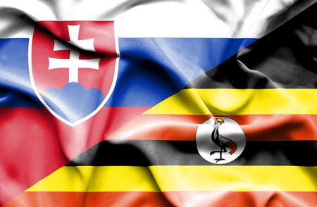 slovak: Waving flag of Uganda and Slovak Stock Photo