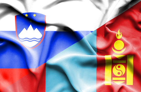 slovenia: Waving flag of Mongolia and Slovenia