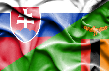 zimbabwe: Waving flag of Zimbabwe and Slovak Stock Photo
