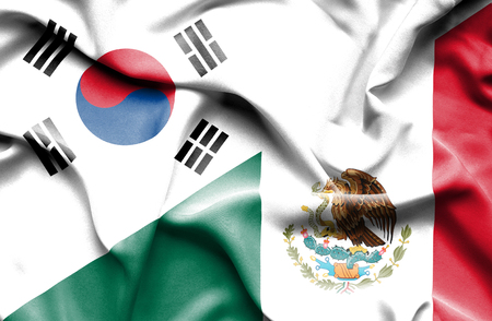 Waving flag of Mexico and South Korea Stock Photo