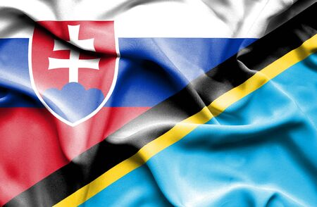 slovak: Waving flag of Tanzania and Slovak