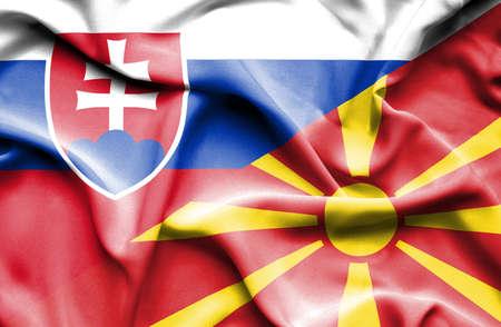slovak: Waving flag of Macedonia and Slovak