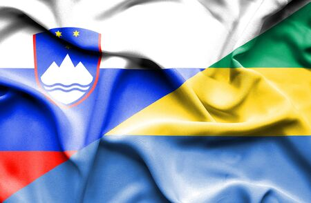 slovenia: Waving flag of Gabon and Slovenia Stock Photo