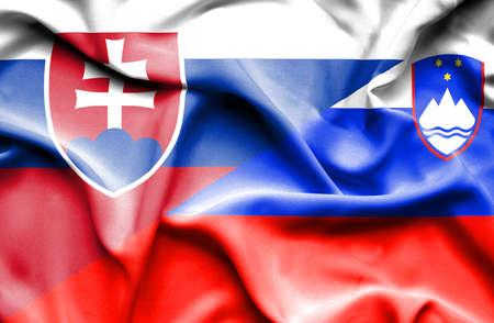 slovak: Waving flag of Slovenia and Slovak