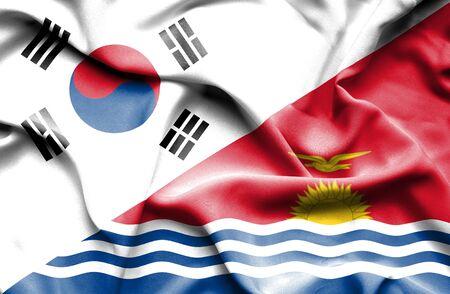 kiribati: Waving flag of Kiribati and South Korea Stock Photo