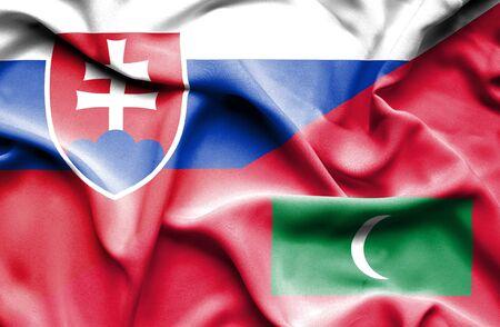slovak: Waving flag of Maldives and Slovak