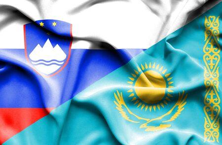 kazakhstan: Waving flag of Kazakhstan and Slovenia