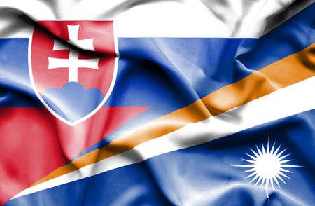 slovak: Waving flag of Marshall Islands and Slovak Stock Photo