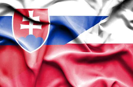 slovak: Waving flag of Poland and Slovak