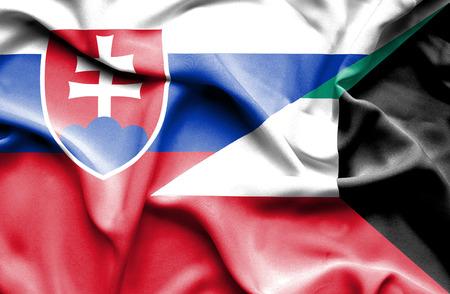slovak: Waving flag of Kuwait and Slovak Stock Photo