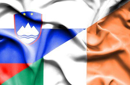 irish history: Waving flag of Ireland and Slovenia