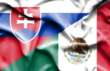 slovak: Waving flag of Mexico and Slovak