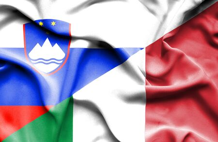 slovenia: Waving flag of Italy and Slovenia