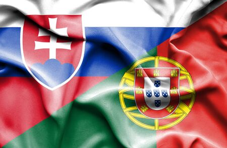 slovak: Waving flag of Portugal and Slovak