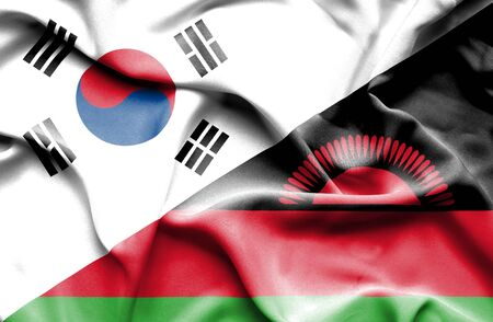 malawian flag: Waving flag of Malawi and South Korea Stock Photo