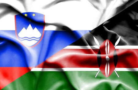 slovenian: Waving flag of Kenya and Slovenia Stock Photo