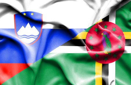 dominica: Waving flag of Dominica and Slovenia