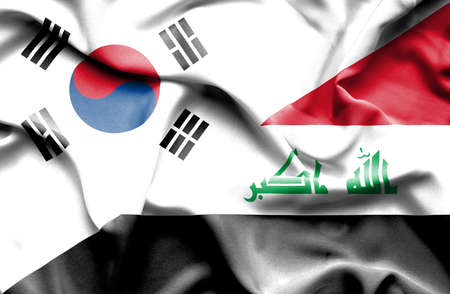 iraq money: Waving flag of Iraq and South Korea