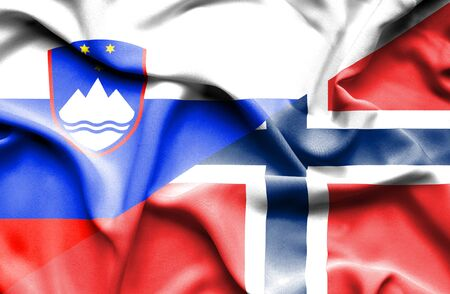 norway flag: Waving flag of Norway and Slovenia