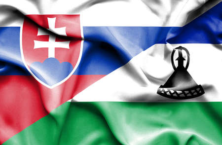 slovak: Waving flag of Lesotho and Slovak