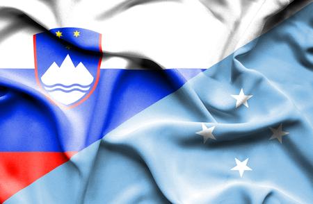 Waving flag of Micronesia and Slovenia