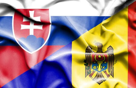 moldavia: Waving flag of Moldavia and Slovak