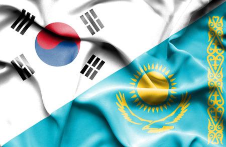 south korea: Waving flag of Kazakhstan and South Korea