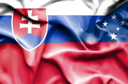slovak: Waving flag of Samoa and Slovak