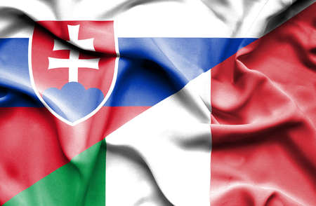 slovak: Waving flag of Italy and Slovak