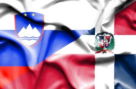 dominican republic: Waving flag of Dominican Republic and Slovenia Stock Photo