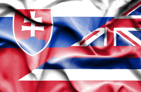 slovak: Waving flag of Hawaii and Slovak