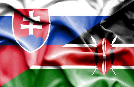 slovak: Waving flag of Kenya and Slovak Stock Photo
