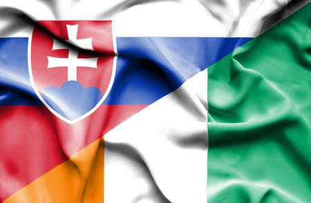 coast: Waving flag of Ivory Coast and Slovak