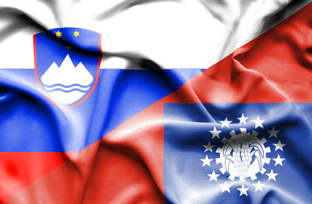 slovenia: Waving flag of Myanmar and Slovenia Stock Photo