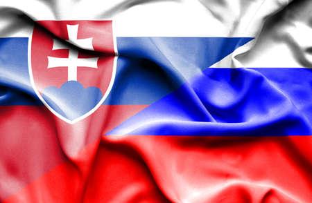 slovak: Waving flag of Russia and Slovak
