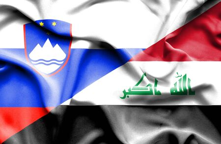 iraq conflict: Waving flag of Iraq and Slovenia