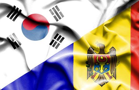 moldavia: Waving flag of Moldavia and South Korea Stock Photo