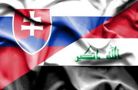 iraq war: Waving flag of Iraq and Slovak