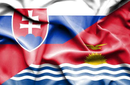 slovak: Waving flag of Kiribati and Slovak