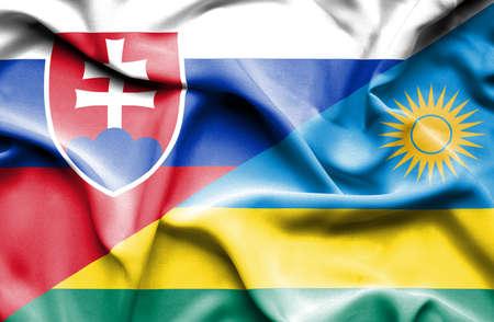slovak: Waving flag of Rwanda and Slovak