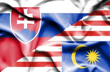 slovak: Waving flag of Malaysia and Slovak