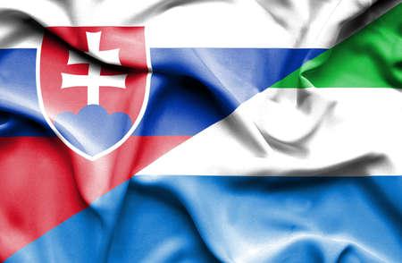 slovak: Waving flag of Sierra Leone and Slovak