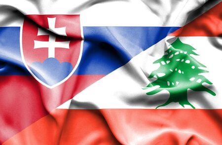 slovak: Waving flag of Lebanon and Slovak
