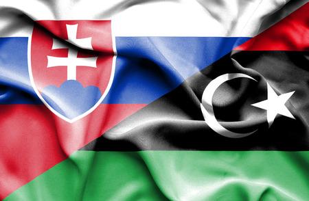 slovak: Waving flag of Libya and Slovak